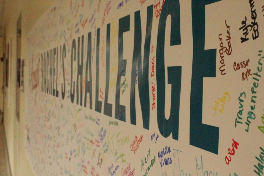 Signing for a change. Many people took Rachels challenge and decided to apply it to their lives. By signing this poster, students pledged to change their lives for the better.