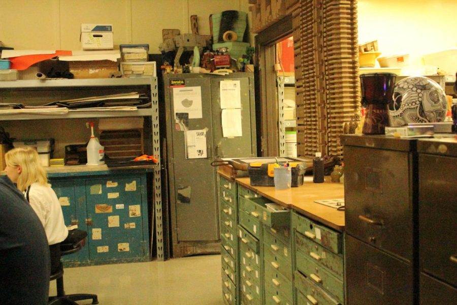 Getting ready for newcomers, this is what part of the room looks like that NAHS is held in, Hoovers room. There are many elements of art shown throughout this classroom, which makes for learning environment.