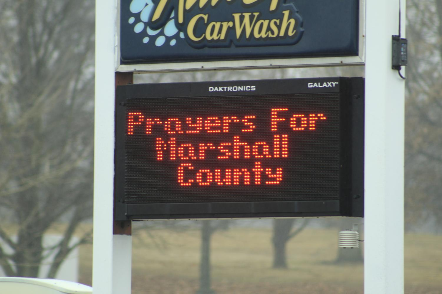Billboard with kind words near Marshall county high school after the 2018 shooting