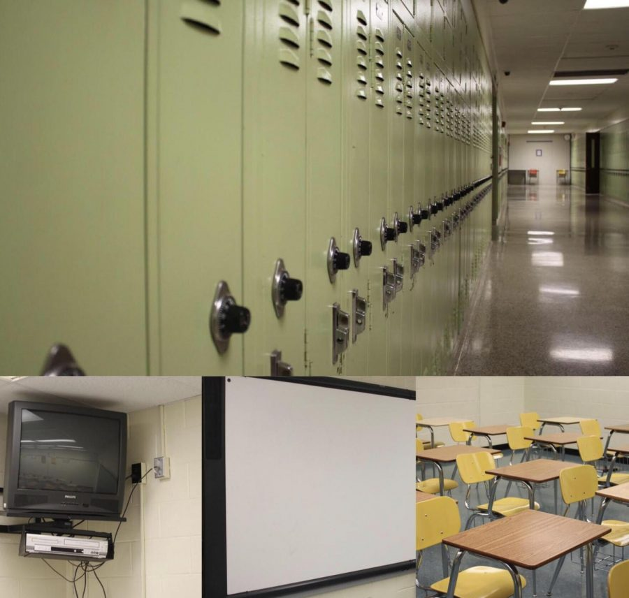 Old%21+These+four+pictures+show+how+some+aspects+of+the+school+are+outdated.+Lockers%2C+TVs%2C+smart+boards+and+desks+are+just+some+of+the+things+that+need+updated+during+the+renovation.+