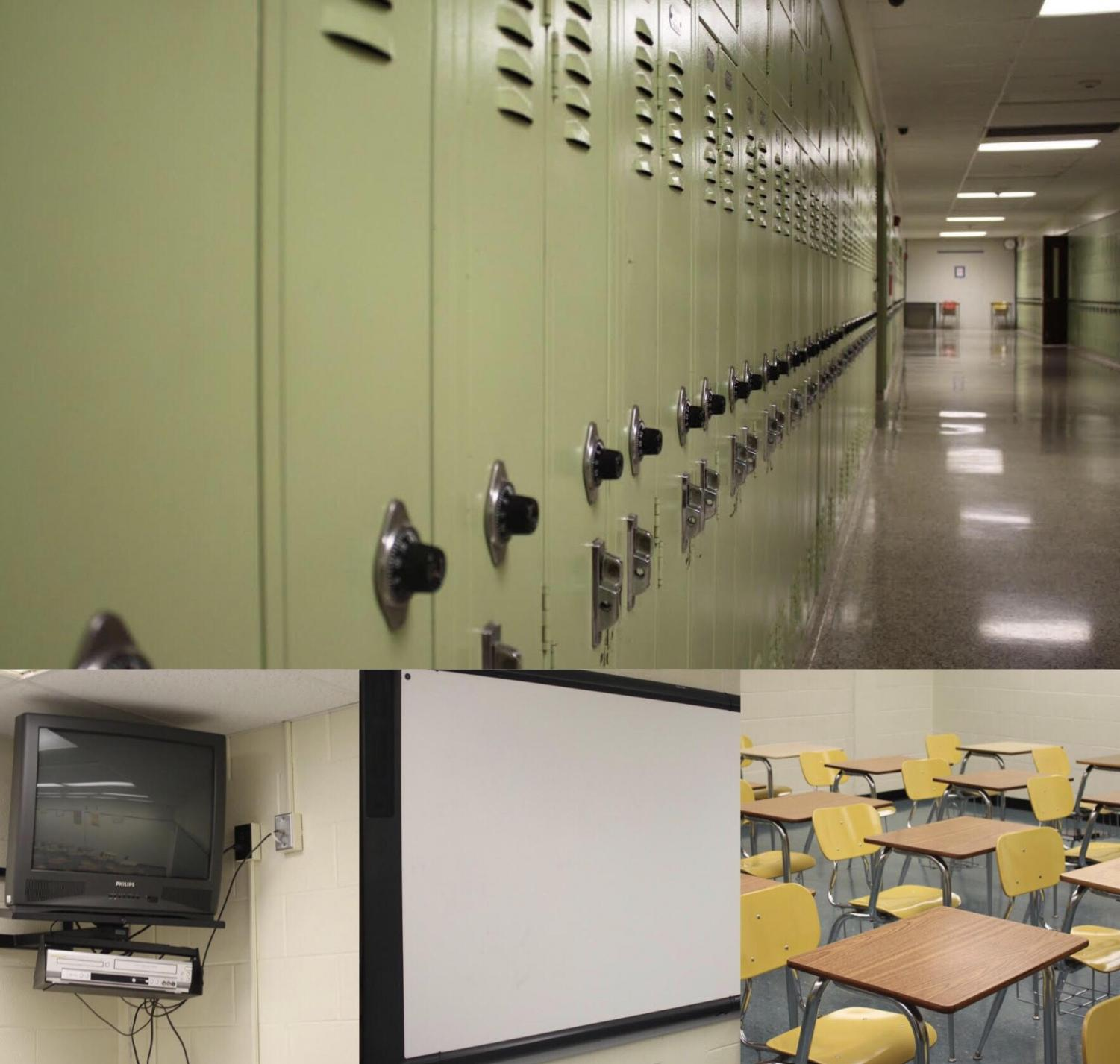 Old! These four pictures show how some aspects of the school are outdated. Lockers, TVs, smart boards and desks are just some of the things that need updated during the renovation.