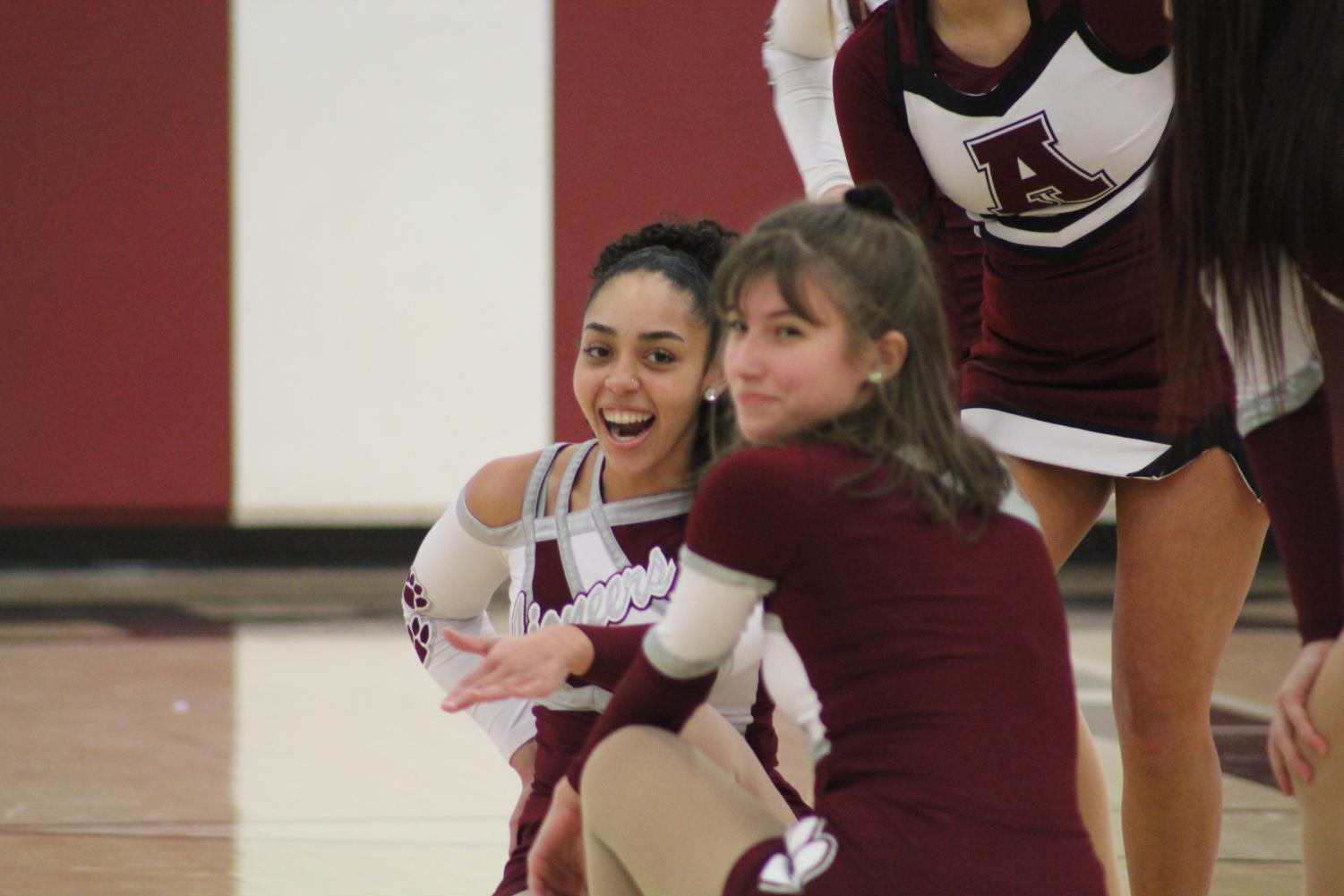Madison Noel and Taylor Meyers perform with the dance team during Challenge Assembly. Both girls love dance and participate in Advanced Dance Class.