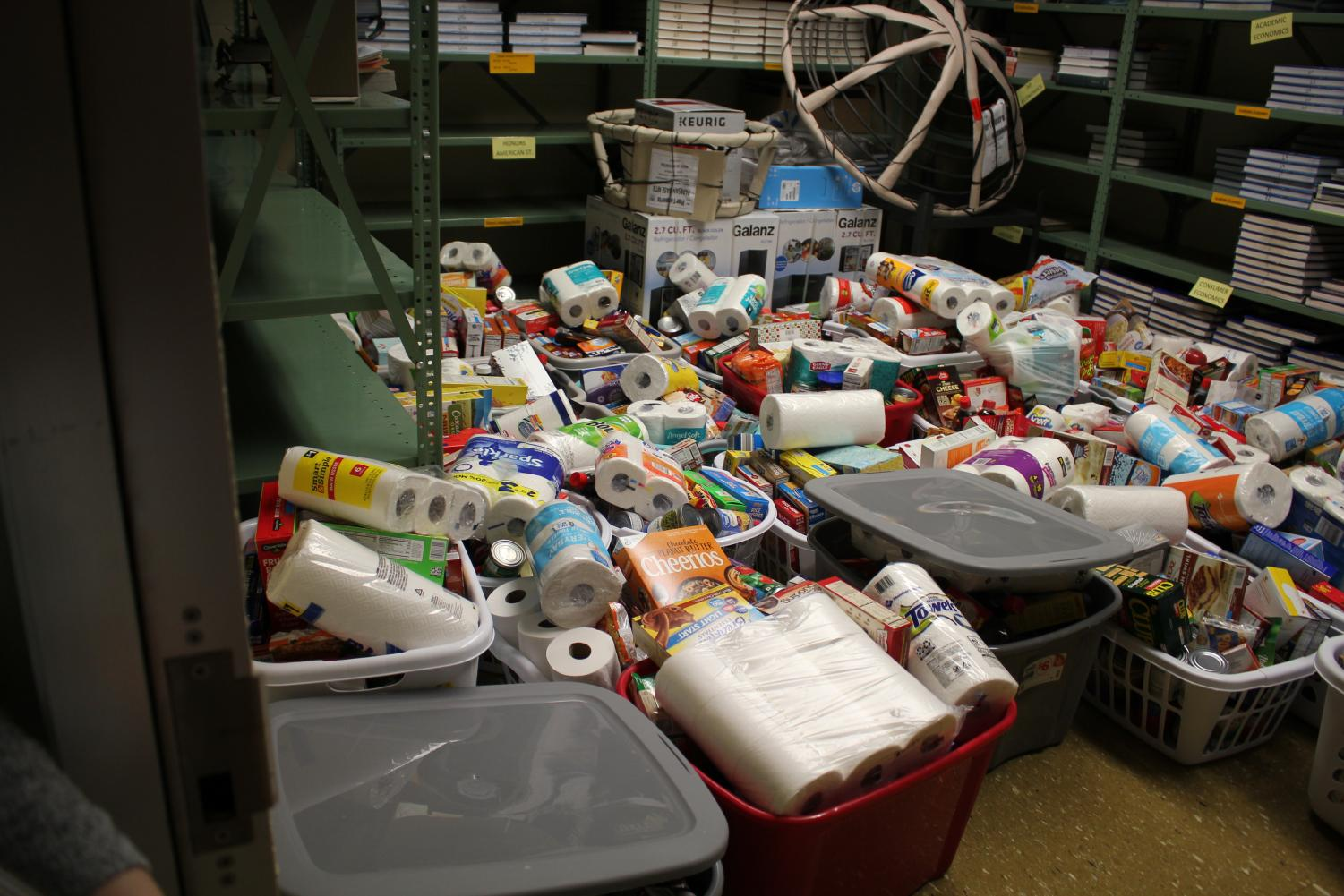 Many teachers and students contributed to the holiday food drive.  Organizers provided a list of items needed that were placed in laundry baskets.