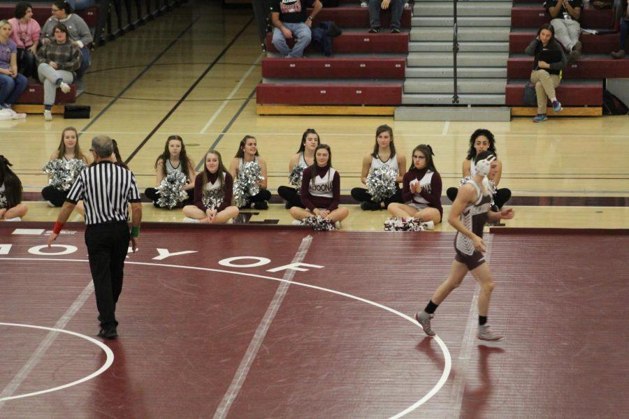 Sophomore cheerleaders, Paige Vallei, Chastity Brunner, and Holly Imler, senior Lioneers, Madison Noel, Taylor Meyers, Haley Stampley, and Hailey Killinger, and junior Lioneers, Sidnie Yoder and support the wrestlers in their match on Oct. 20. Pictured on the mat is senior wrestler Corey McClellan.