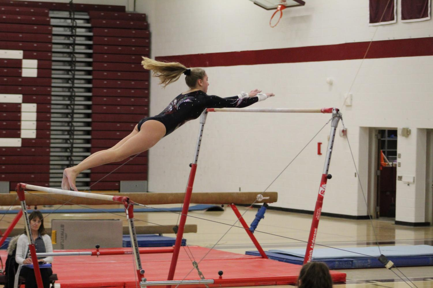 Let's go! The Gymnastics team participated in the league competition on Saturday Feb. 6 away. The team placed first throughout the day. They will next compete on Monday Feb.19.