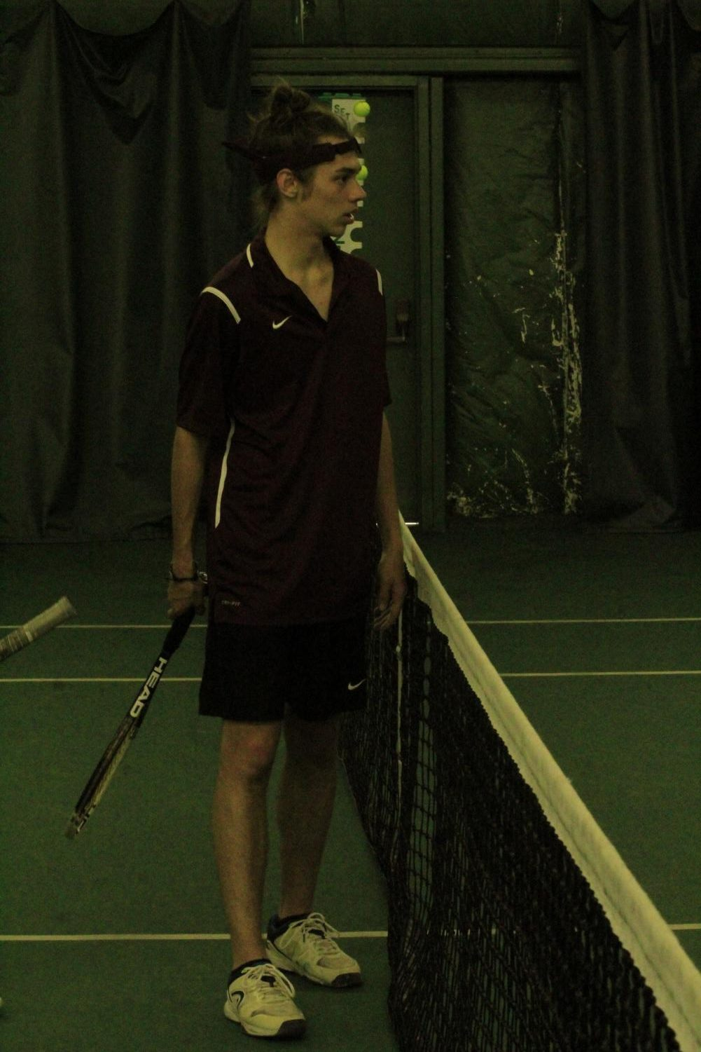 Senior+Micheal+Schimminger+talks+with+his+opponent+after+the+set+was+over.