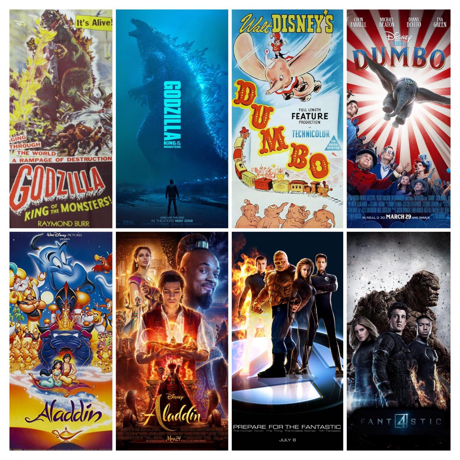The reboots and remakes of Hollywood.  Throughout the past couple years, Hollywood has produced more film remakes and reboots that cannot be compared to the original classics. Films such as Godzilla, Dumbo, Aladdin, and the Fantastic Four have been remade and changed into more modernized movies that fail to capture audiences.