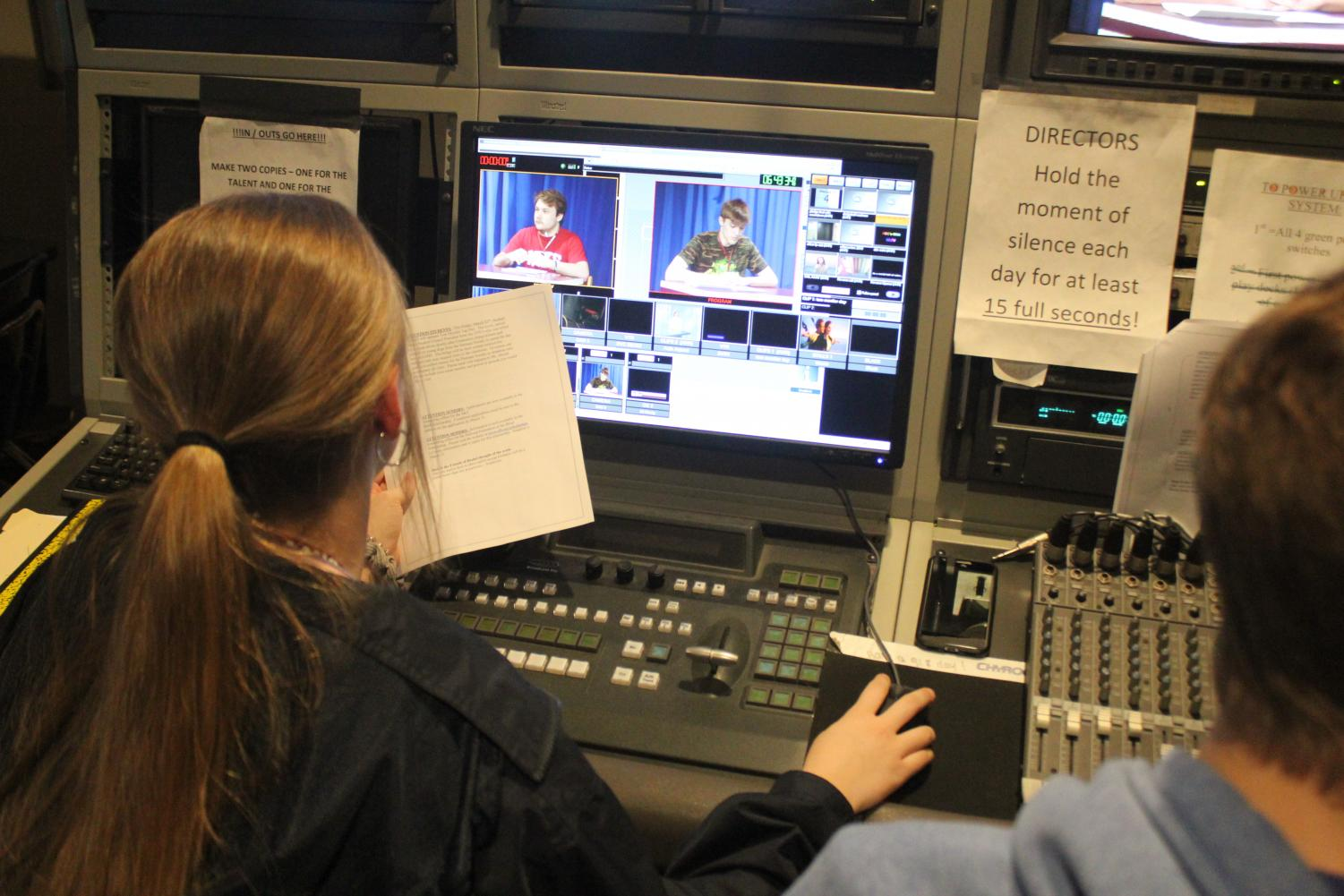 Last year's MLTV crew gets ready to start morning announcements.  This year's staff hopes to be up and running soon with a new format that allows A building classrooms to use their ViewSonic boards and a private Youtube channel to broadcast the program.