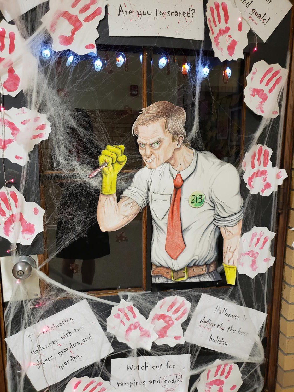 Jackie Flick's class participated in the Halloween door decorating contest in 2018.