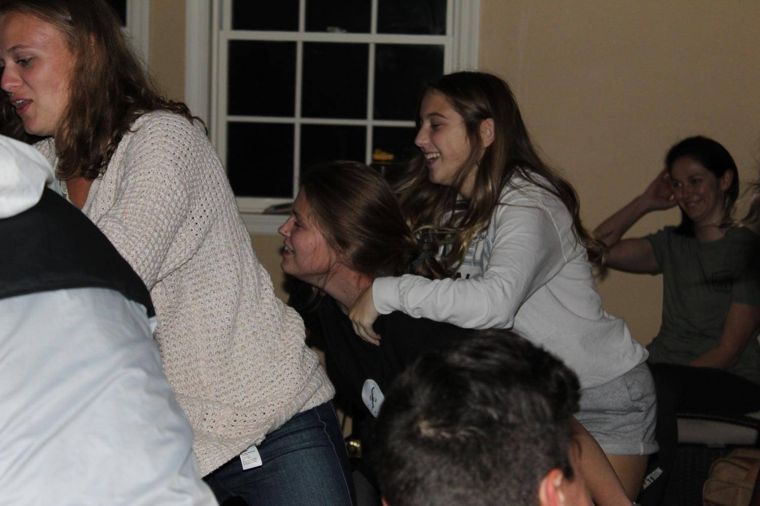 Skit time! Juniors Laney Degennaro and Maddy Reed play in a game during the first club of the school year. Clubs are usually held every Thursday at 7:30 p.m.