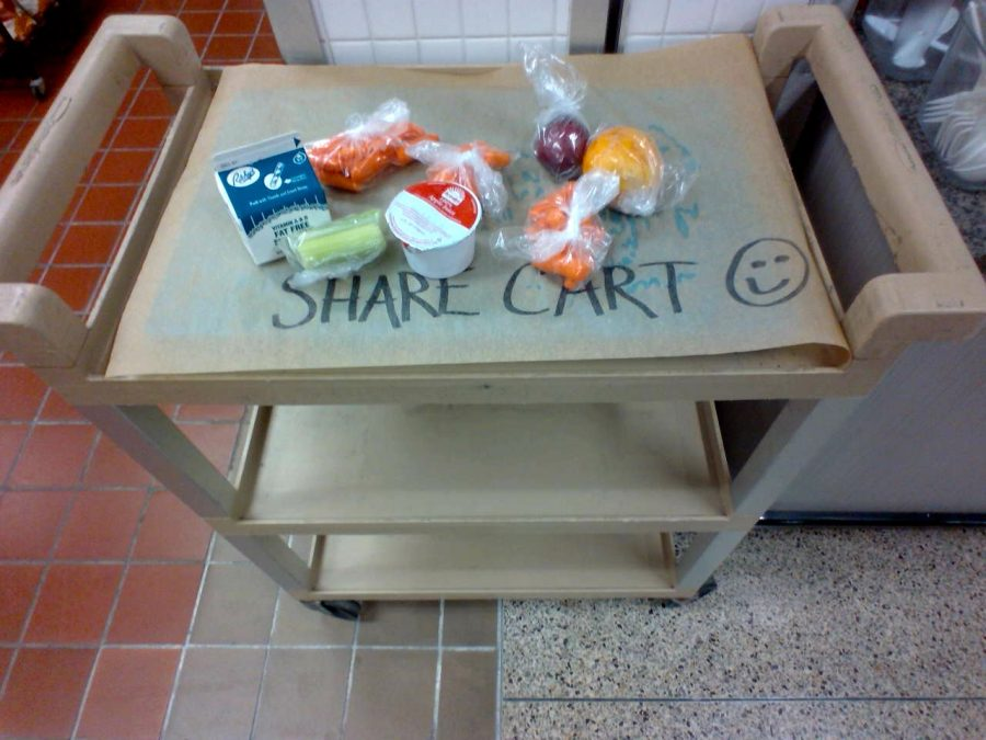 Eating+it+up%21+%0AThe+share+cart+gets+low+on+food+as+the+end+of+C+lunch+approaches.+Students+who+are+still+hungry+picked+up+extra+food+to+fill+them+up+for+the+day.