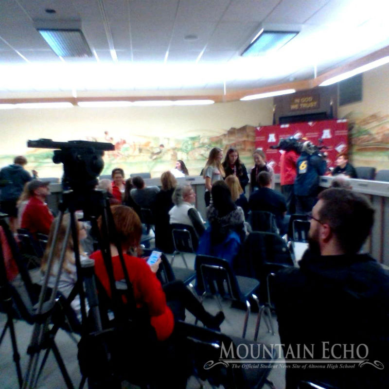 Television news crews interview AAHS students who signed with George Washington University, Saint Francis University, Mansfield University, Seton Hill and California University of Pennsylvania Monday Nov. 18.