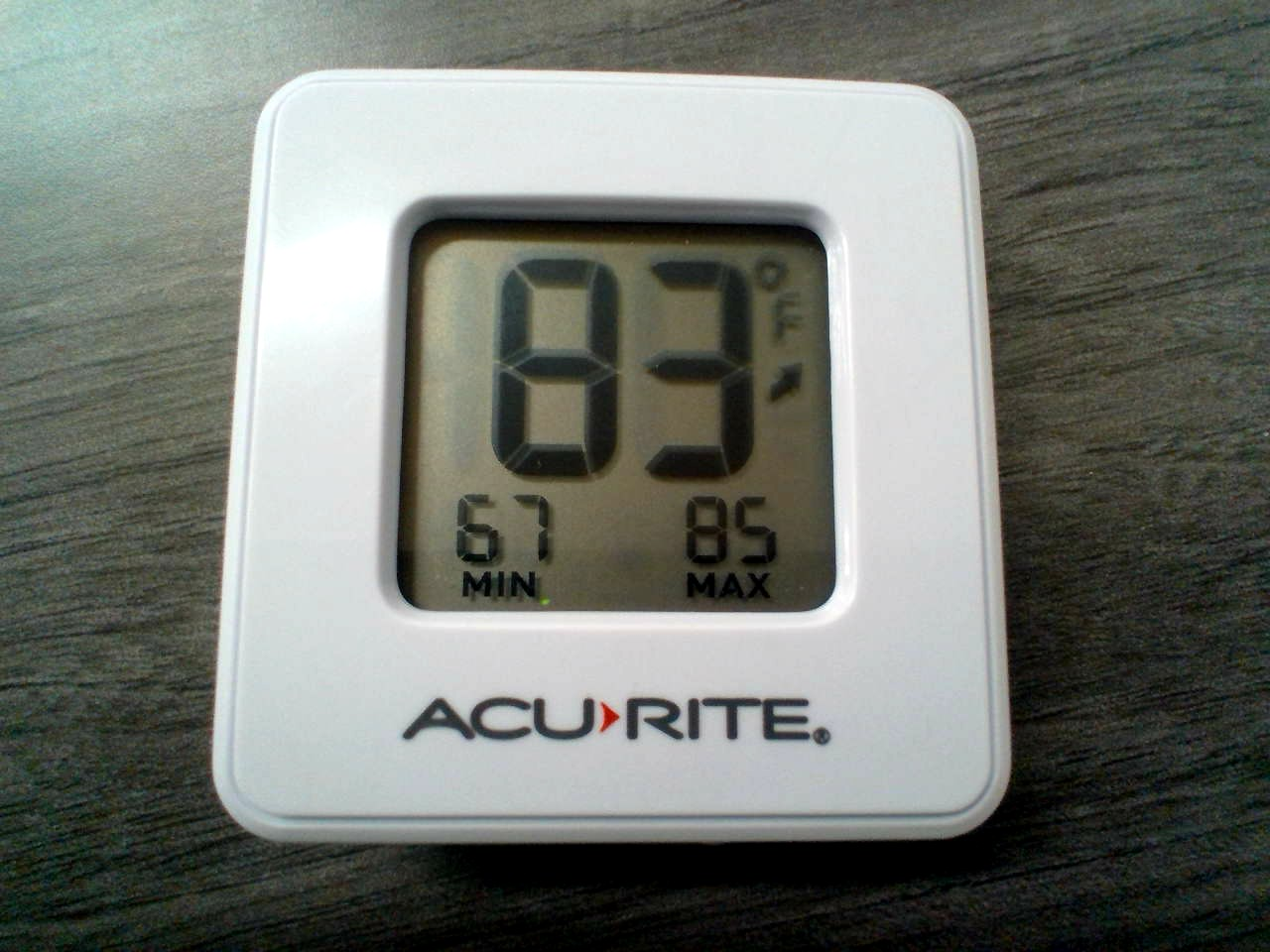 Holy smokes! The thermometer shows a high temperature of 83 degrees. This was one of the highest temperatures observed.