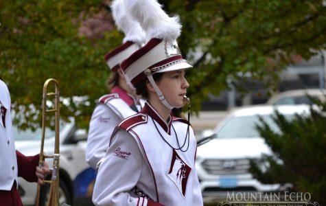 Band plays during Veteran's Day parade