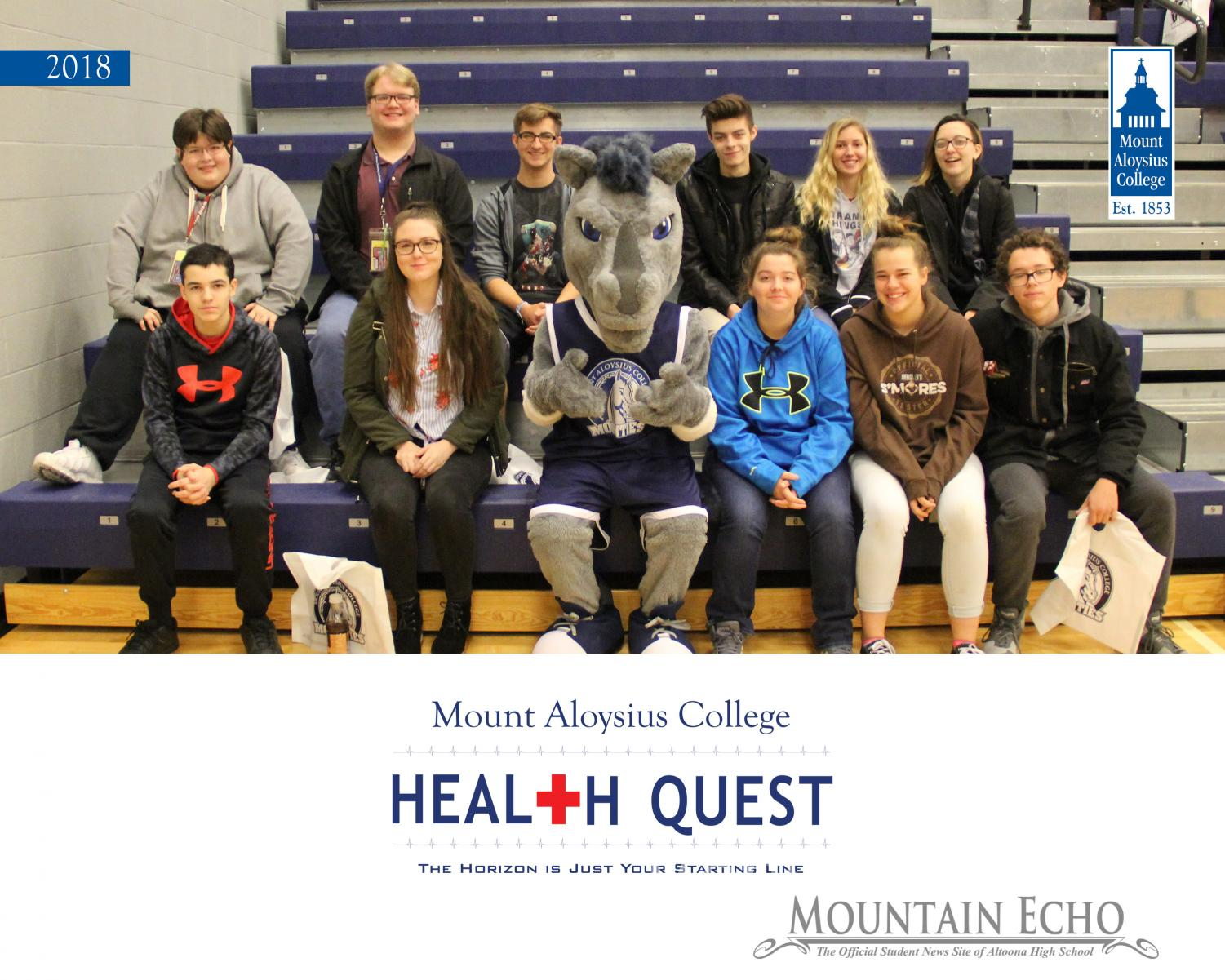 The picture features (front row left-right SOAR members) Derek Stacey, Victoria Shoeman, Alyssa Paige, Ian Pielmeier (back row left-right) Vincent Restauri, Anthony Burd, Nathan Benton, James Leake, Selena Haselbarth and Dunan McHenry.  These students attended Health Quest day at Mount Aloysius College last year.