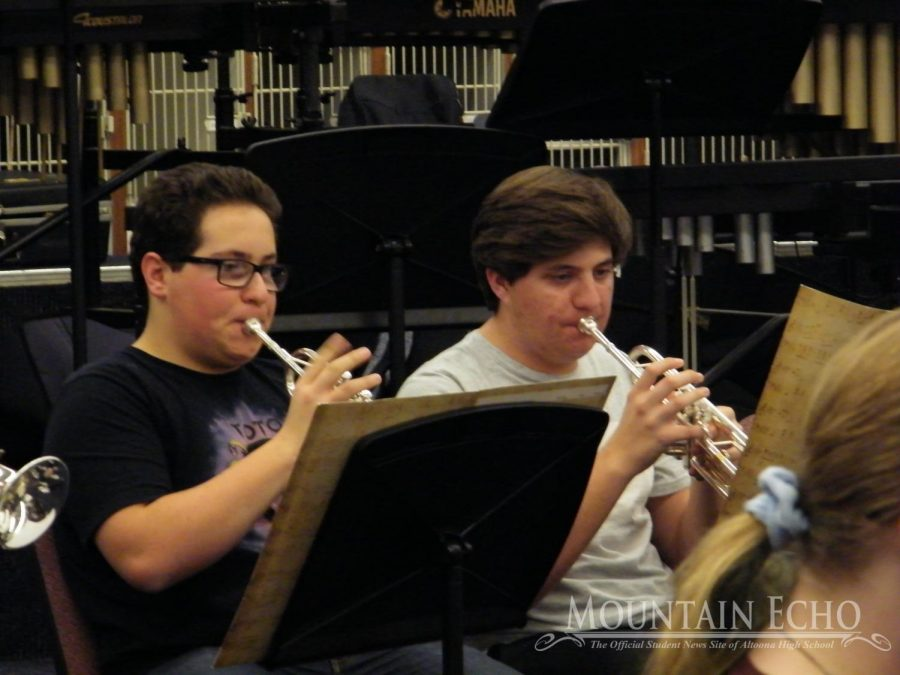 The trumpets! Sophomores Lukas Caracciolo and Quinn Mosebey play their trumpets. The trumpets were the loudest instruments there.
