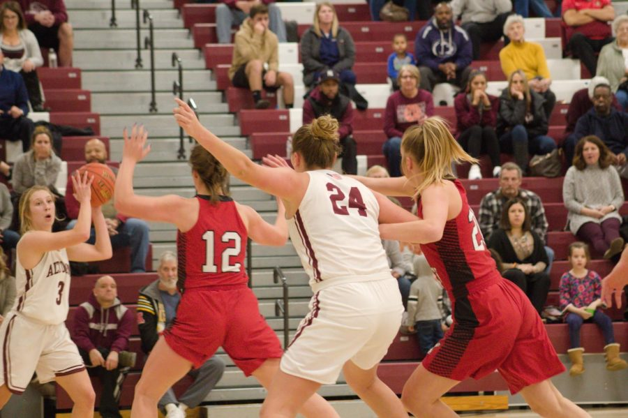Play hard. Open gyms for girls' basketball teams start soon. The picture above shows the girls' basketball team playing Cumberland Valley on Jan. 13, 2020.