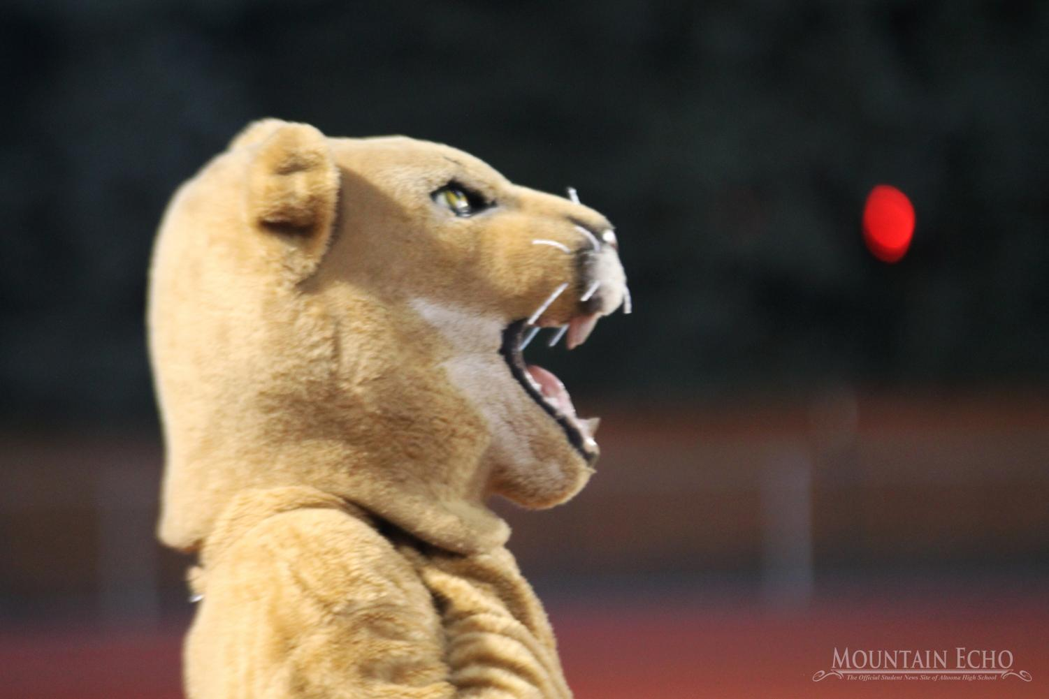 Roar! The mascot looks on during a football game. The Mt. Lion helps cheer on the teams and pep of the student section.  Too often that student section has empty seats that could be filled.
