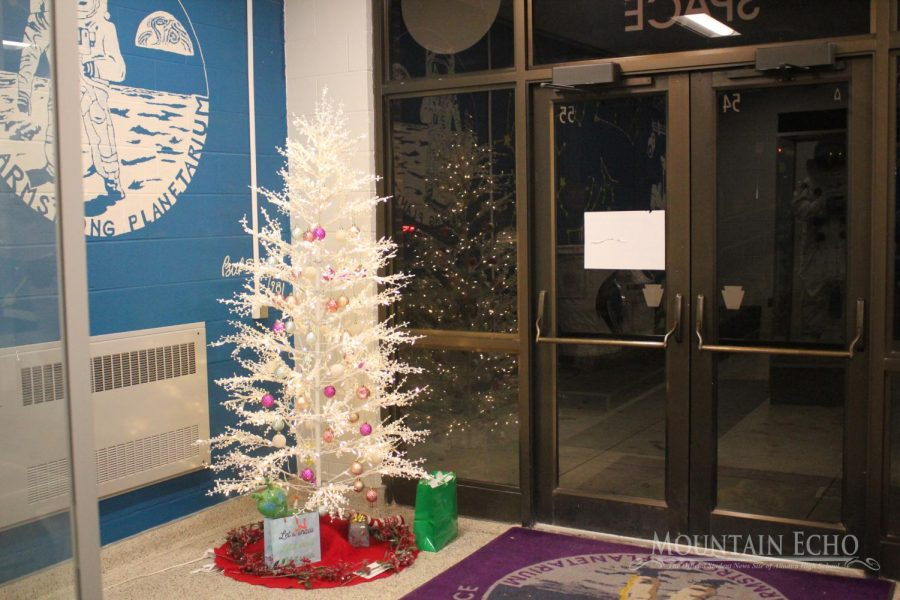This decorated tree is in the astronomy hall. James Krug is set to host the popular Season of Light show in the planetarium. (BEFORE COVID-19).