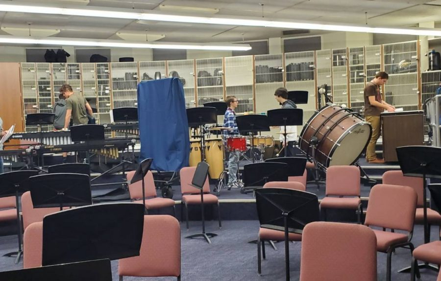 This is the current band room. The music department will move to the new B building.