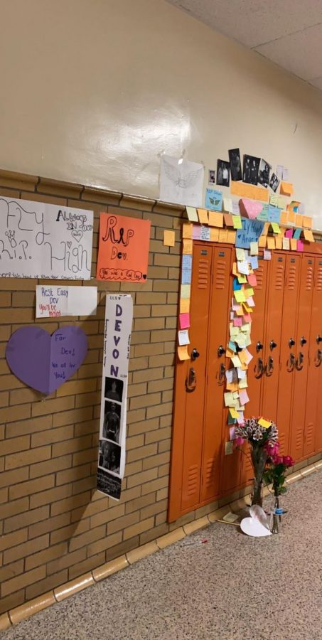 Locker memorial Students and faculty continue to add items to Devon Pfirschings school locker.  The locker is located in the B Building.
