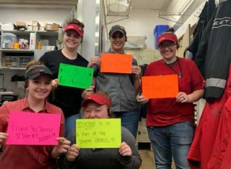 Stay positive!  Sheetz employees hold up signs ensuring the community to stay positive during this hard time. Sheetz is making precautions to keep everyone safe.