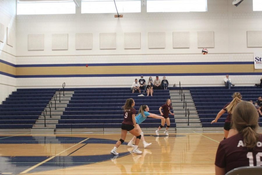 Cross+town+rivals+Senior+Julia+Savino+gets+ready+for+her+pass.++The+volleyball+team+opened+their+season+against+Hollidysburg.