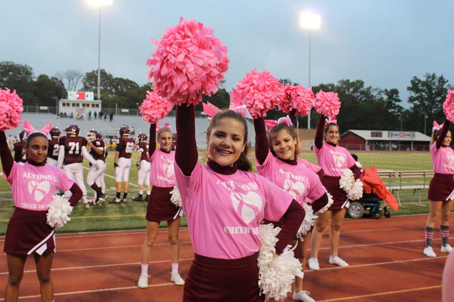 Pretty in pink. Wearing pink in October has been a tradition for many years at Altoona High. The girls pictured (left to right) Piper Vallei, Page Vallei, Rylee McCurdy and Kaydee Dambeck in the back were cheerleaders as freshman   and younger when this photo was taken. Join the maniacs in wearing pink to support breast cancer awareness month.