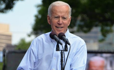 Lets vote. Former Vice President Joe Biden speaks during his kickoff rally for the beginning of his 2020 Presidential campaign. Alongside Biden during his campaign is his running mate, Senator Kamala Harris.
