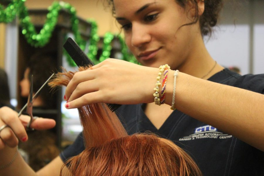 Snip. Moss cuts someones hair during her CTC cosmetology class. Moss has been in enrolled at the GACTC for three years. THIS  PHOTO WAS TAKEN DURING THE 2018-2019 SCHOOL YEAR.