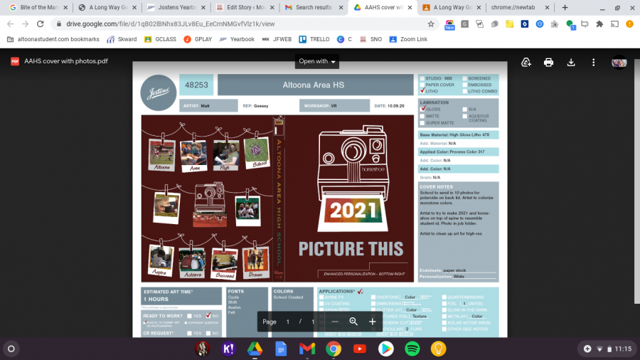 Picture this! This draft of the 2020-2021 yearbook cover shows the planning involved. Picture This is the theme the book will display Polaroids and photography most prominently.