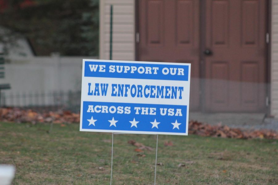 Sign like this one were common over the summer and election months, but can still be seen around town. The support of law enforcement instead of the racial inequality experienced by black people across the country is an insult to those fighting for equality.