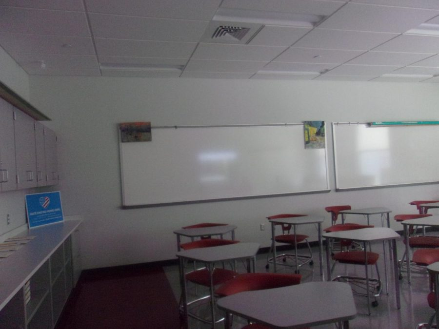 Classrooms sit vacant but ready for students to return Feb. 16.  Teachers returned to the building Feb. 8 in preparation for live instruction.
