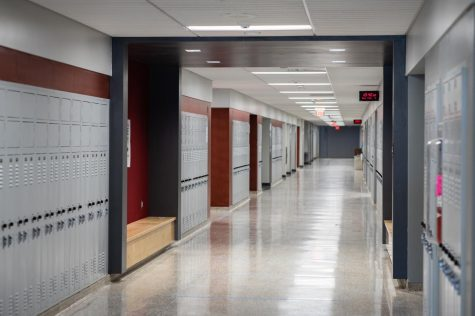 Hallways sit vacant but ready for students to return Feb. 16.  Teachers returned to the building Feb. 8 in preparation for live instruction.