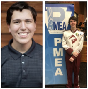 Side by side, Alex Thaler and Seth Brunnhuber are shown at the PMEA last year. This will be their final year participating in the NafME/PMEA All-East Honors Ensemble.