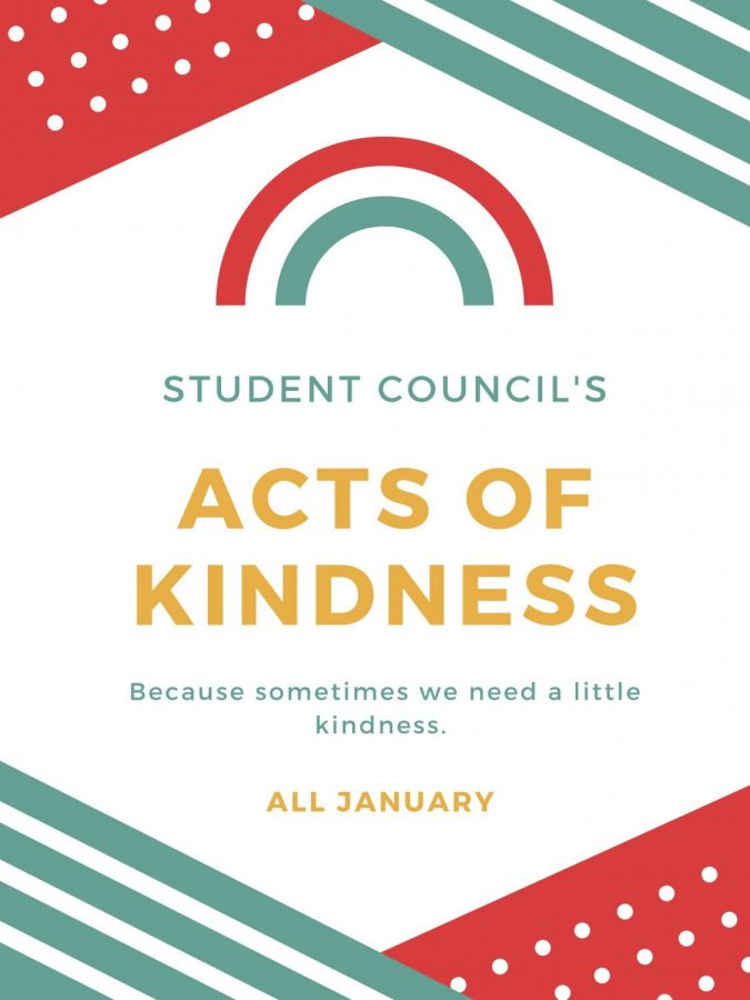 The acts of kindness theme changes every week, and includes kindness towards family, classmates, and the community. Student council consists of 145 members.