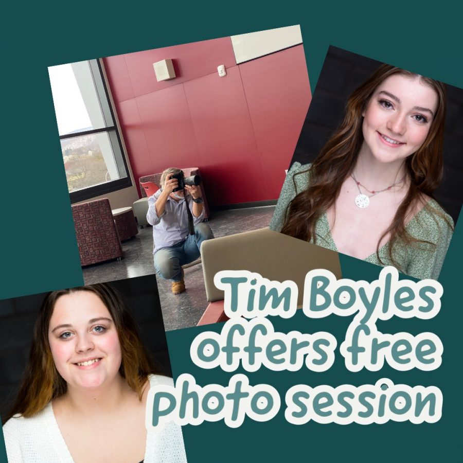Say Cheese! Tim Boyles crouches to take a students picture. Boyles has been offering the opportunity to get free professional portraits taken for two years. Seniors Carolyn Dumm and Jacqueline Ertwine psoe for their picture.