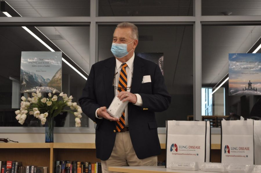 The founder of the Lung Disease Foundation of Central Pa., George M. Zlupko, MD, holds one of the many new additions to the school. In response to the increase of teenagers vaping, 30 vape sensors will be placed throughout the high school. These sensors will be placed in all of the bathrooms and any large areas where students may be.