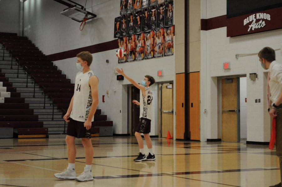 Ready Set Go! Freshman Samuel Kessinger, #24, gets ready to serve the ball. The Altoona team played against Carlisle on Monday, April 23.