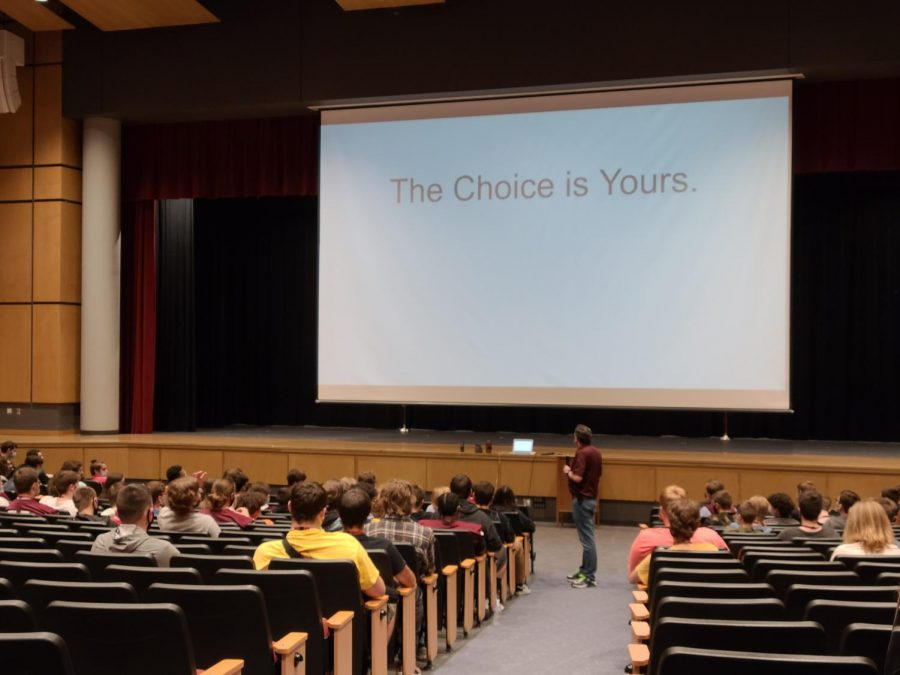 Your+choice.+%0APrincipal+Andrew+Neely+speaks+with+the+senior+class+male+students.+He+showed+them+photos+of+the+damage+and+told+them+they+can+make+a+difference.+
