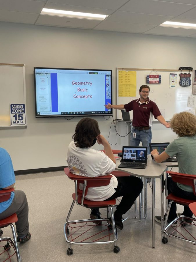 The Bell is about to Ring Kaleb Marasco teaches his eighth period class about basic geometry. Marasco was once a student sitting in the chairs as his students do now.