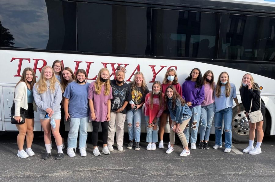 All smiles! The Lady Spikers get ready to attend their first tournament of the season. Im really excited for whats to come, senior Macy Yost said.
