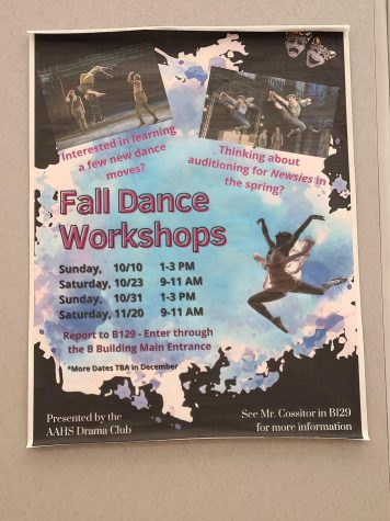 Dancing. The fall dance workshop posters hang around the building. The Drama Club hosts these lessons on select Saturdays and Sundays.
