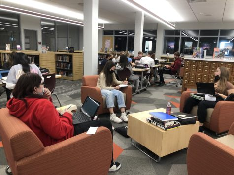 Shhh Students spread around to work in library. Connor Chywski brings his classes to the library on Thursdays to read and work on their journals.