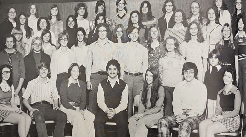 This 1975 yearbook features the Mountain Echo staff.